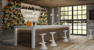 tabouret de bar et cloison range bouteilles design