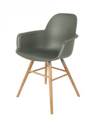 chaise design en bois et polypropylène avec accoudoirs