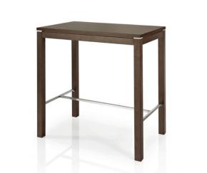 table haute design en acier et bois de hêtre