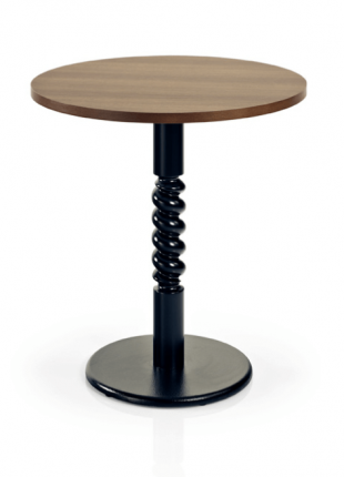 table ronde au design original acier noir et bois