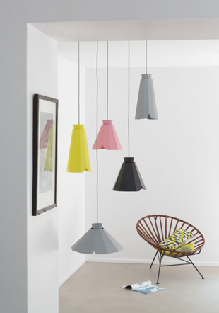 luminaire suspension design rose jaune gris ou noir