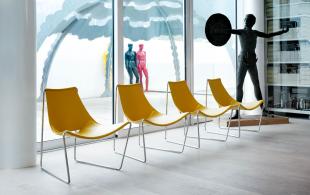 chauffeuses lounge en acier et cuir régénéré jaune