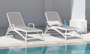 bain de soleil chaise longue en polypropylène blanc