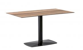 table design à pied unique en acier et bois