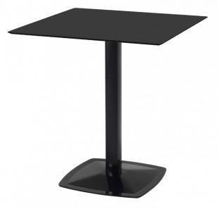 table carrée moderne à pied unique noir