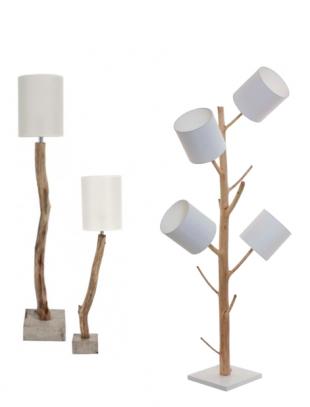 lampe de bureau design pied en bois flotté