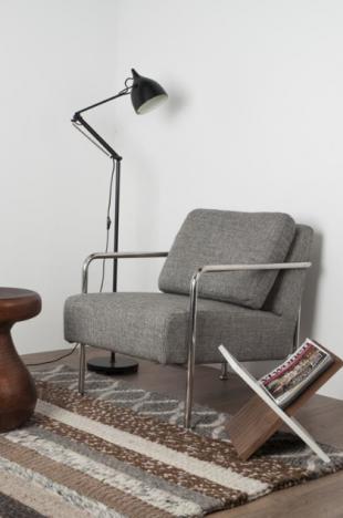 chauffeuse classique cosy en acier et tissu gris