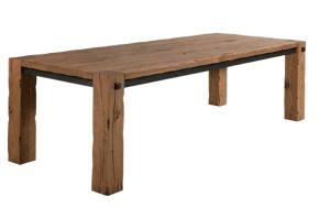 table longue rustique en bois massif clair et acier