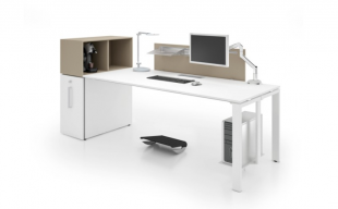 bureau de travail moderne blanc et marron