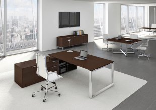 bureau d'angle fonctionnel et modulable bois foncé