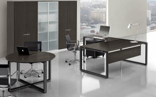 bureau d'angle et table ronde design en bois foncé