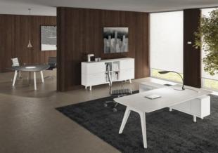 bureau design en bois et verre blanc