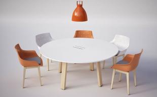 table chaises et luminaire blanc et orange pour espace réunion
