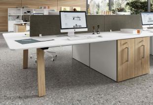bureau double pour open space bois clair et blanc