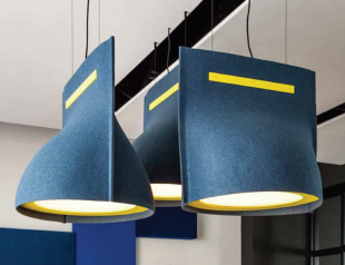solution acoustique design lampe de plafond bleu