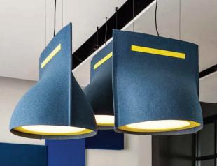 solution acoustique design lampe de plafond bleu