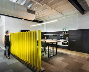 séparateur d'espace design jaune pour entreprise