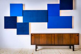 panneau acoustique design bleu mural