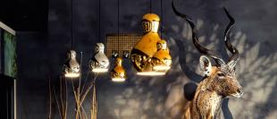 luminaire suspension en acier chromé doré ou argenté