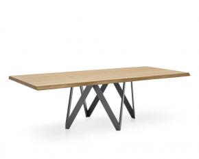 table longue design en acier et chêne naturel