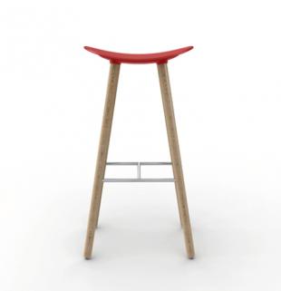 tabouret design en bois et polypropylène coloré