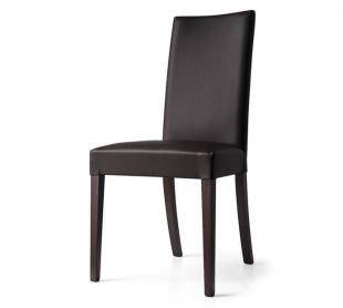 chaise design en bois et simili cuir noir