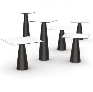 table d'extérieur design pied noir plateau blanc
