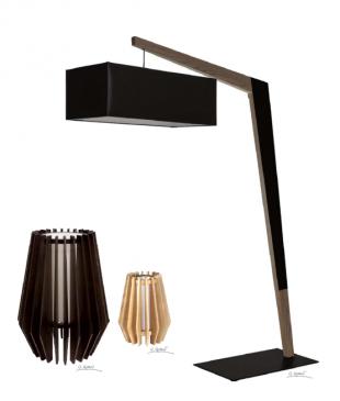 lampe de chevet design en bois clair ou foncé