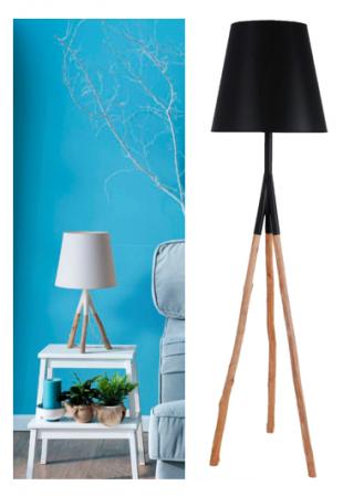luminaire sur trois pieds en bois flotté