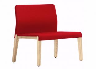 chauffeuse design en bois blanc et tissu rouge