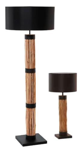 luminaire halogène en bois flotté et coton noir