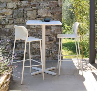 tabouret d'extérieur style romantique acier perforé blanc