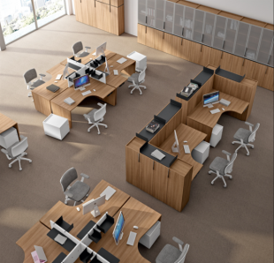 bureaux en bois modulables pour open space