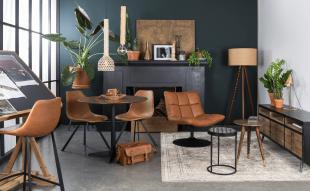 mobilier en cuir et luminaire inspiration vintage