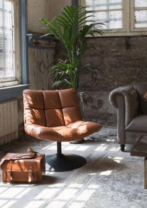fauteuil chauffeuse en cuir vintage design original