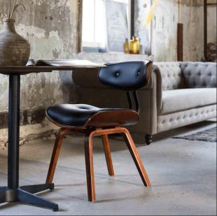 chaise basse rembourrée en cuir style vintage chic