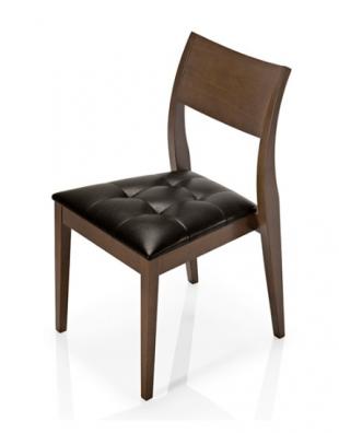 chaise en bois et tissu capitonné sans accoudoirs