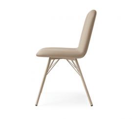 chaise en acier et simili cuir coloré