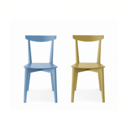 chaise en bois coloré bleu ou jaune style classique