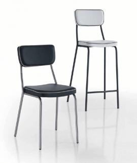 chaise et chaise haute en acier et tissu noir ou blanc