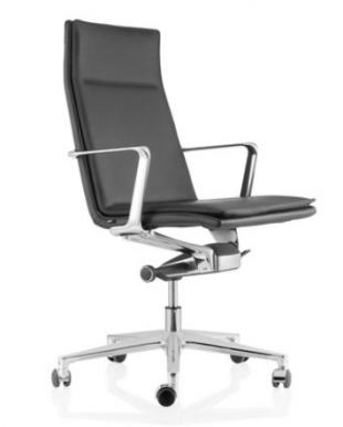 siège de travail ergonomique en acier et cuir noir