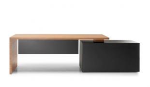 bureau modulable en bois noir et brut