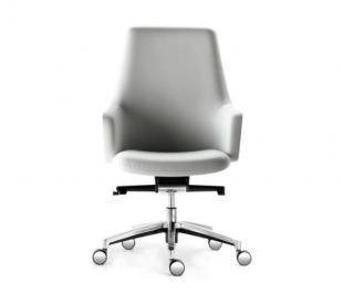chaise de bureau moderne en cuir blanc