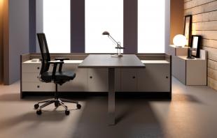 bureau design et modulable en bois foncé