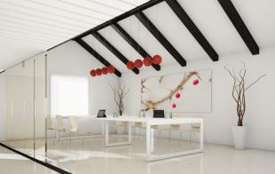 espace réunion blanc épuré avec luminaires design