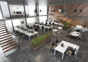bureaux opératifs design en métal blanc