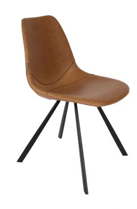 chaise design en acier et simili cuir style vintage