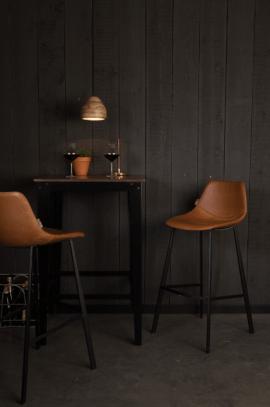tabouret design en acier et simili cuir vintage