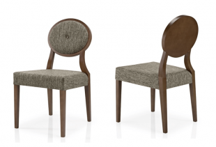 chaise en bois et tissu gros sans accoudoirs