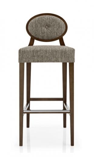 tabouret en bois et tissu avec assise rembourrée